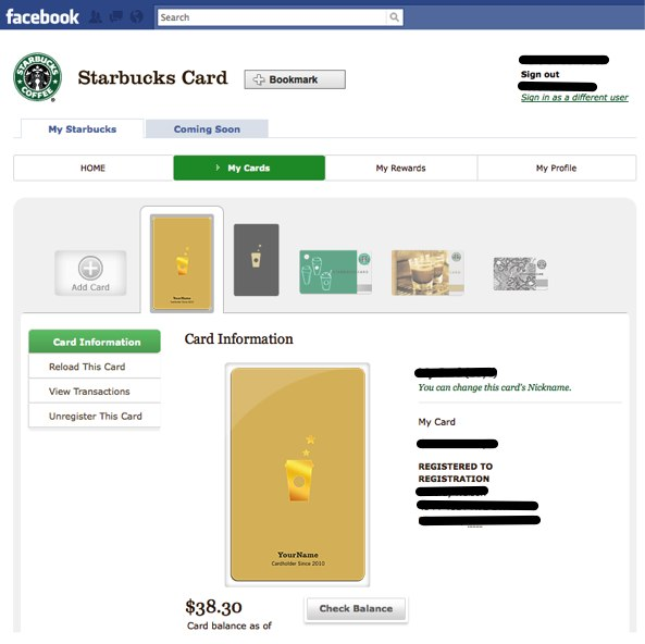 Manage Your Starbucks Card From Facebook