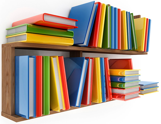 home page resources stacked books